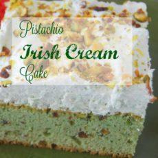 Pistachio Irish Cream Cake via diningwithdebbie.net