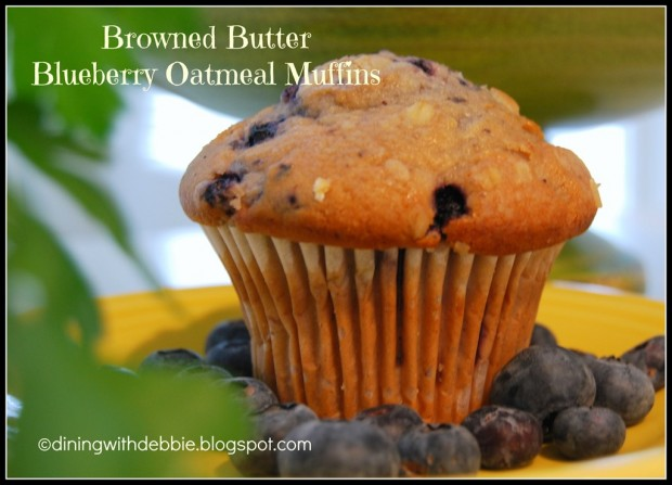 Browned Butter Blueberry Oatmeal Muffins