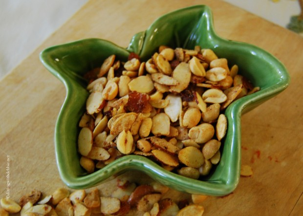 Spicy Peanut, Almond and Pumpkin Seed Snack