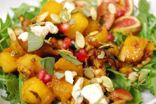 Roasted Pumpkin, Fig, Pomegranate and Arugula Salad