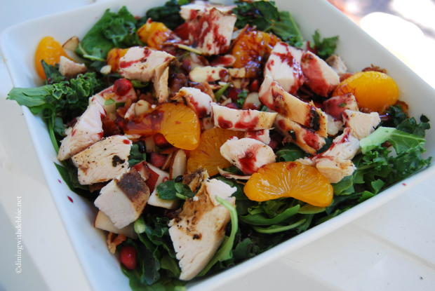 Chopped Kale, Arugula and Bacon Salad with Pomegranate Vinaigrette