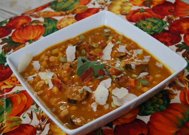 Pumpkin Soup with Italian Sausage, Navy Beans and Sage