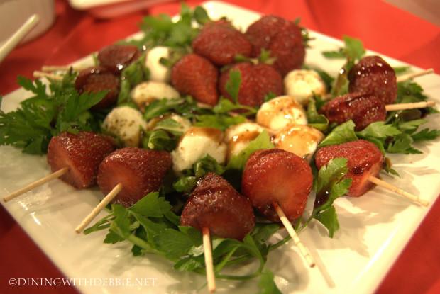 Strawberry Mozzarella and Basil Kabobs