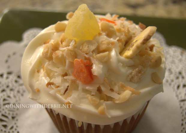 Tropical Carrot Cupcakes with Coconut Goat Cheese Frosting