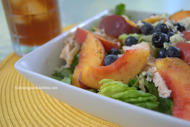 Romaine Salad with Chicken and Fresh Peaches