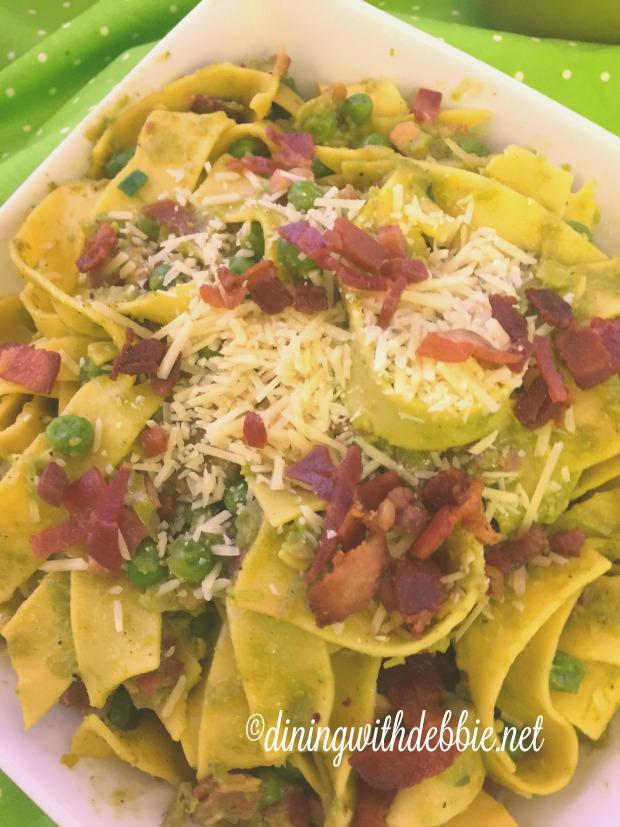 peas, pancetta, pappardelle 3 vert