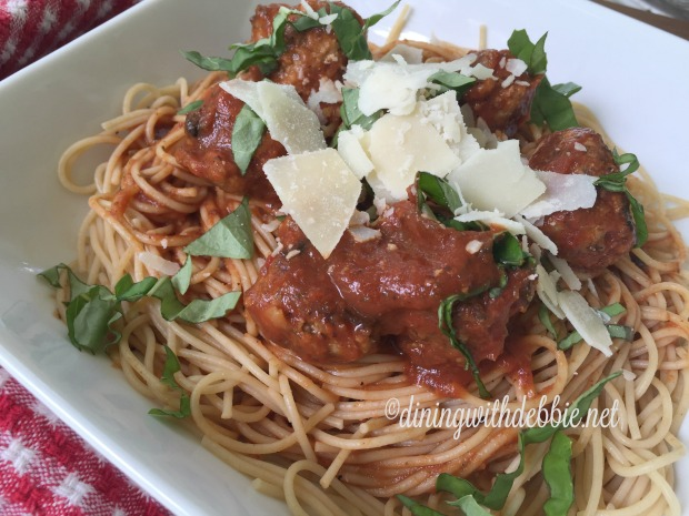 CookingWithGerber whole wheat spag with mini meatballs