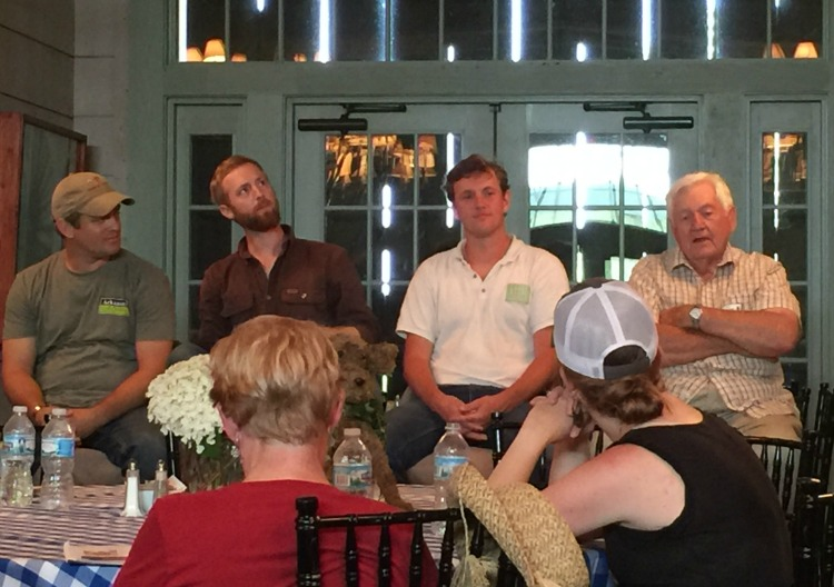 Damon Helton (The Farm at Barefoot Bend), Ben Maddox (Foodshed Farms), Cody Hopkins (Grass Roots Farmers' Cooperative) and Bob Barnhill (Barnhill Orchards) served on the Food Coops &Hoegrown by Heroes Panel.