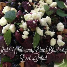 red white and blue blueberry beet salad