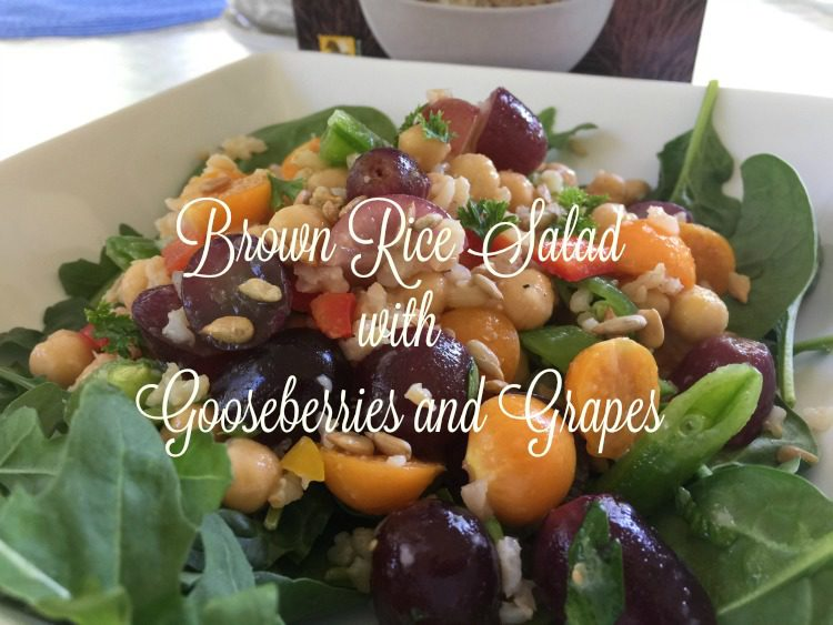 brown rice salad with Riceland boil-in-bag whole grain brown rice gooseberries and grapes