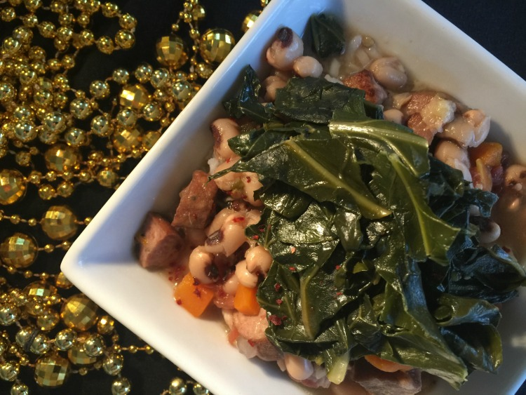 Lucky Black-Eyed Peas and Collard Greens Soup {Slow Cooker)
