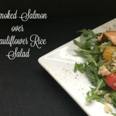 smoked salmon with cauliflower rice salad feature 750 diningwithdebbie.net