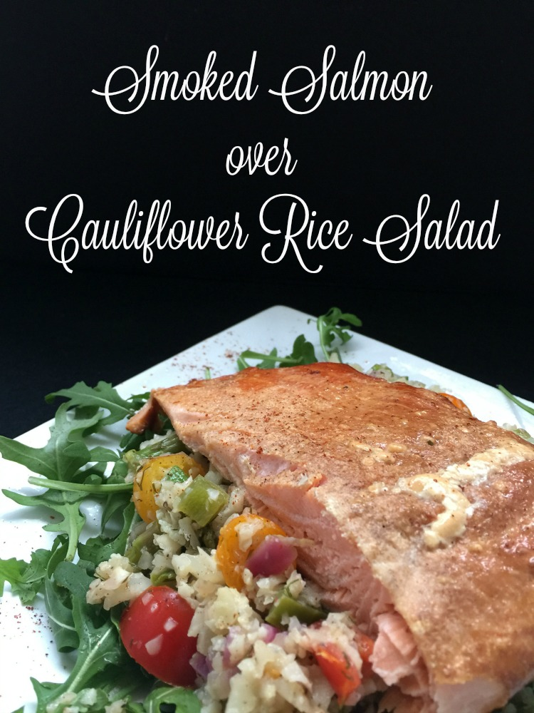 smoked salmon over cauliflower rice salad vertical diningwithdebbie.net