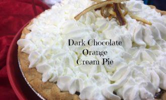Dark Chocolate Orange Cream Pie diningwithdebbie.net