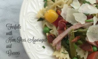 Farfalle with Ham, Bacon, Peas, Asparagus and Greens diningwithdebbie.net