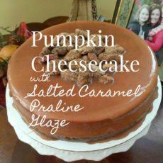 Pumpkin Cheesecake with Salted Caramel Praline Pecan Glaze via diningwithdebbie.net