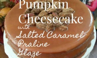 Pumpkin Cheesecake with Salted Caramel Praline Pecan Glaze via diningwithdebbie.net