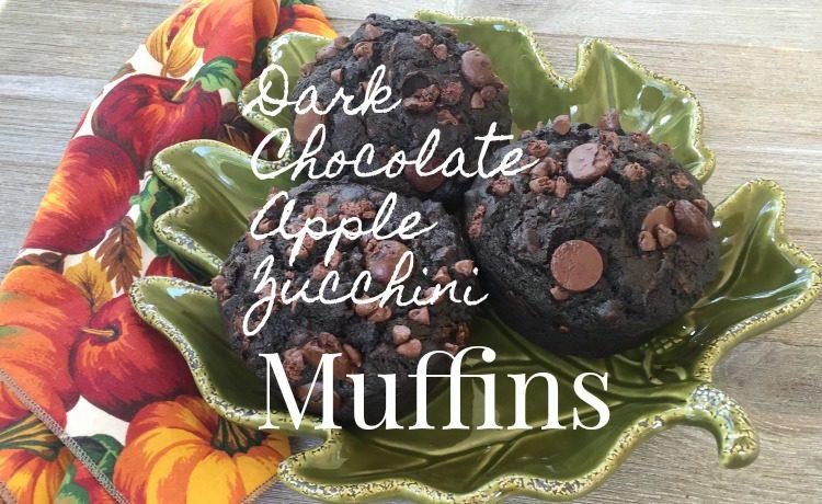 dark chocolate apple zucchini muffins