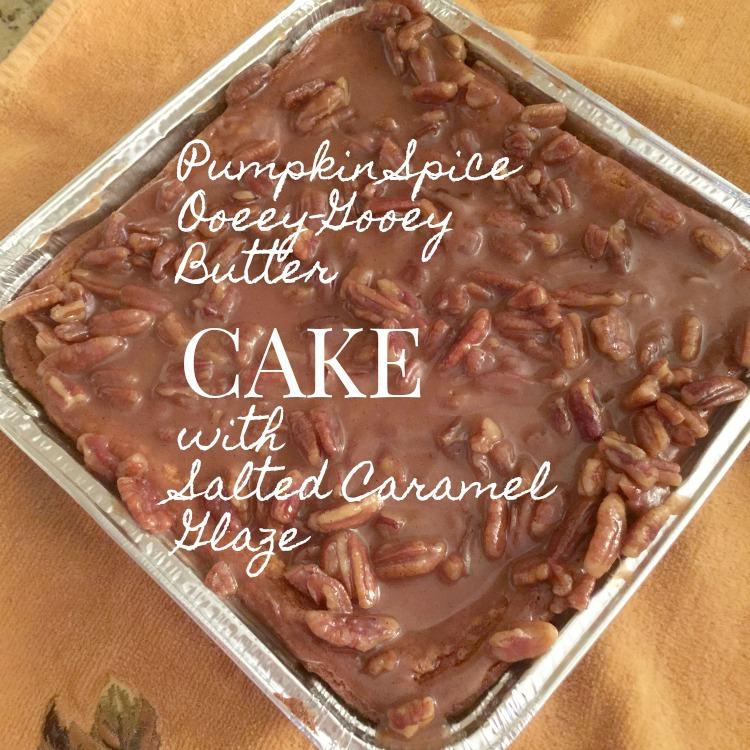 Pumpkin Spice Ooeey-Gooey Butter Cake with Salted Caramel Pecan Glaze