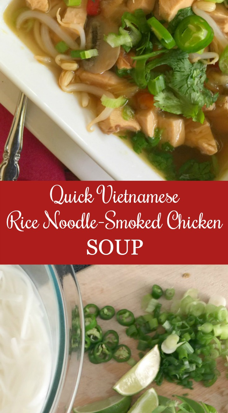 Vietnamese Rice Noodle-Smoked Chicken Soup
