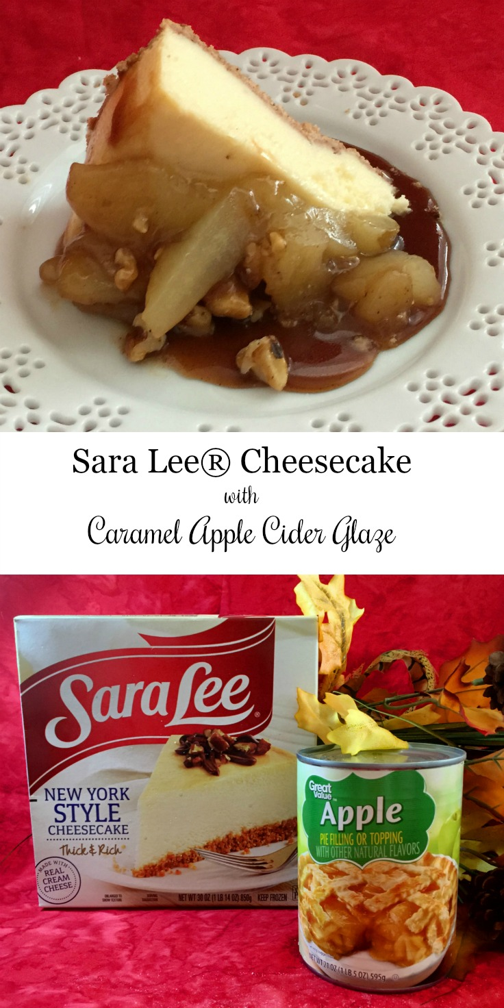 Sara Lee® Cheesecake with caramel apple glaze pinterest via diningwithdebbie.net