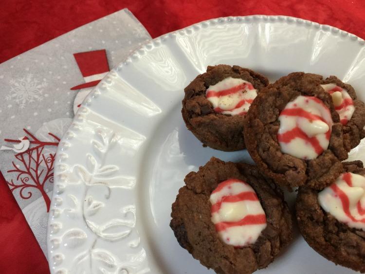 Dark Chocolate Peppermint Kiss Cookies via diningwithdebbie.net