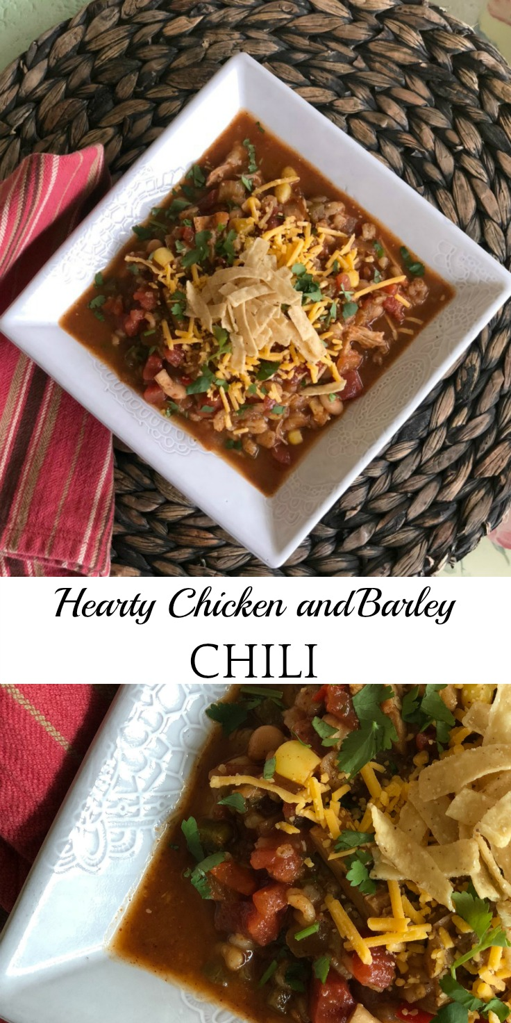 Hearty Chicken and Barley Chili via DiningWithDebbie.net