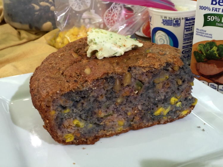 Blue Cornmeal Bread with Jalapeno Compound Butter via DiningWithDebbie.net
