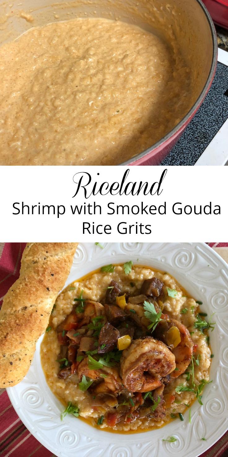 Riceland Shrimp with Smoked Gouda Rice Grits via diningwithdebbie.net
