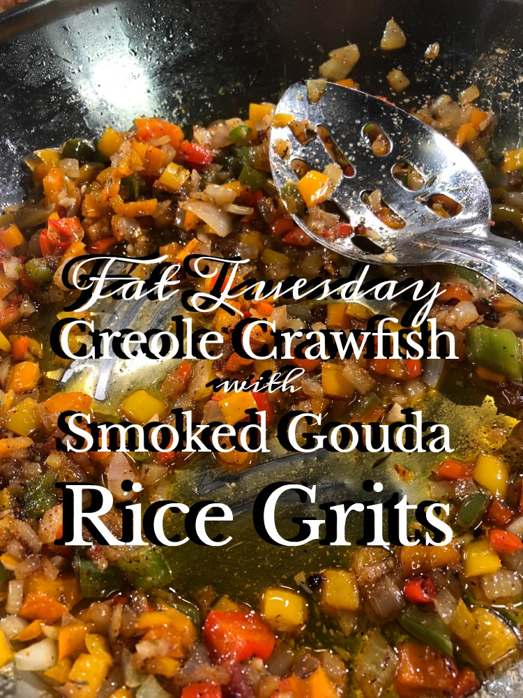Fat Tuesday Creole Crawfish with Smoked Gouda Grits via diningwithdebbie.net