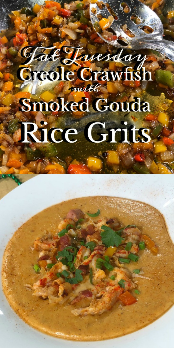 Fat Tuesday Creole Crawfish with Smoked Gouda Rice Grits via DiningWithDebbie.net